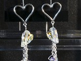 Tanzanite Sterling Silver Open Heart Earrings Swarovski Crystal Hearts and beads and dangling chains. Available in multiple colors: Siam, Amethyst, Peridot, Tanzanite, Sapphire, Astral Pink & More! Limited Quantities at The Nest & Mill Creek Pub!